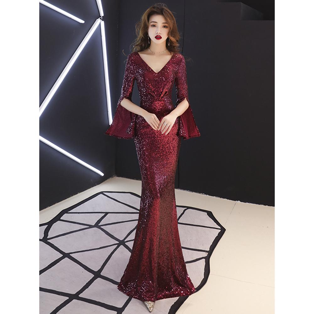 Dinner Dress Noble Elegant Fishtail Famous Hostess Annual Wine Red Dinner Party Wedding Gown Maxi Dress For Women Shopee Malaysia,Stylish Beautiful Dresses To Wear To A Wedding As A Guest