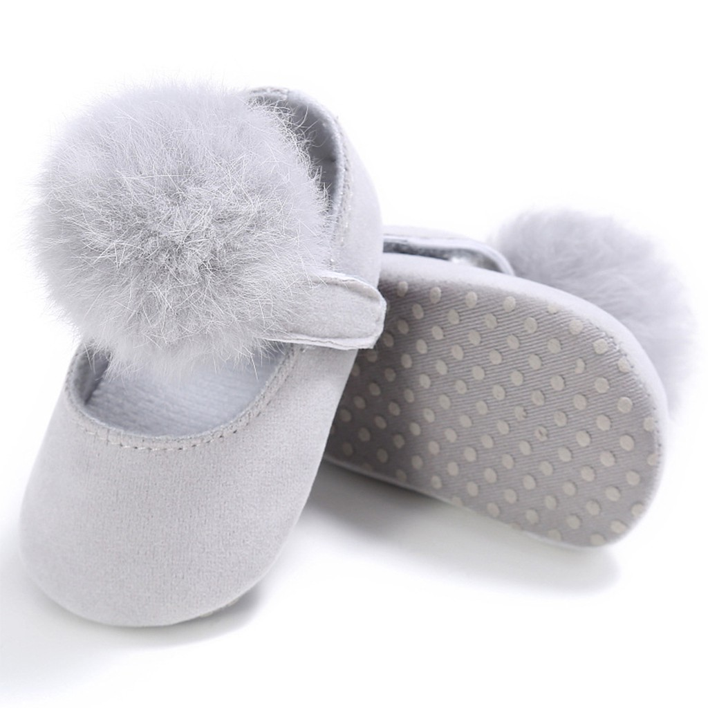 Baby Girl Toddler Shoes Princess Hair Ball Pre-walkers Solid Anti Slip