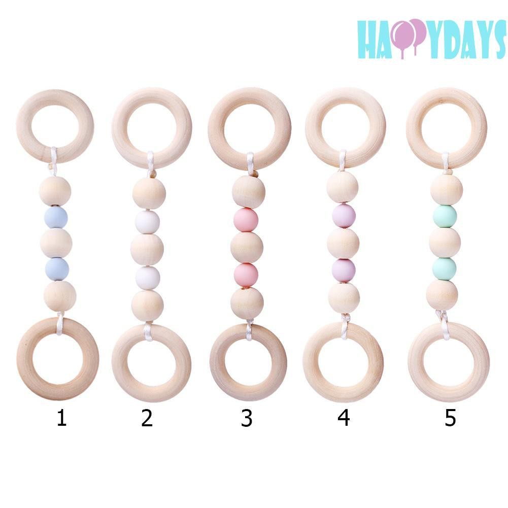 Safe And Healthy Toy Baby Silicone Wood Beads Teether Ring Chain for Newborn Infant Tooth Train