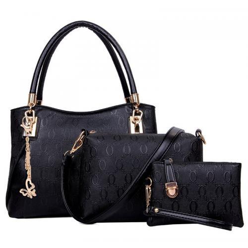 182098cc54c3bd WOMEN 3PCS TOTE BAG PU LEATHER HANDBAG PURSE BAGS SET (BLACK ...