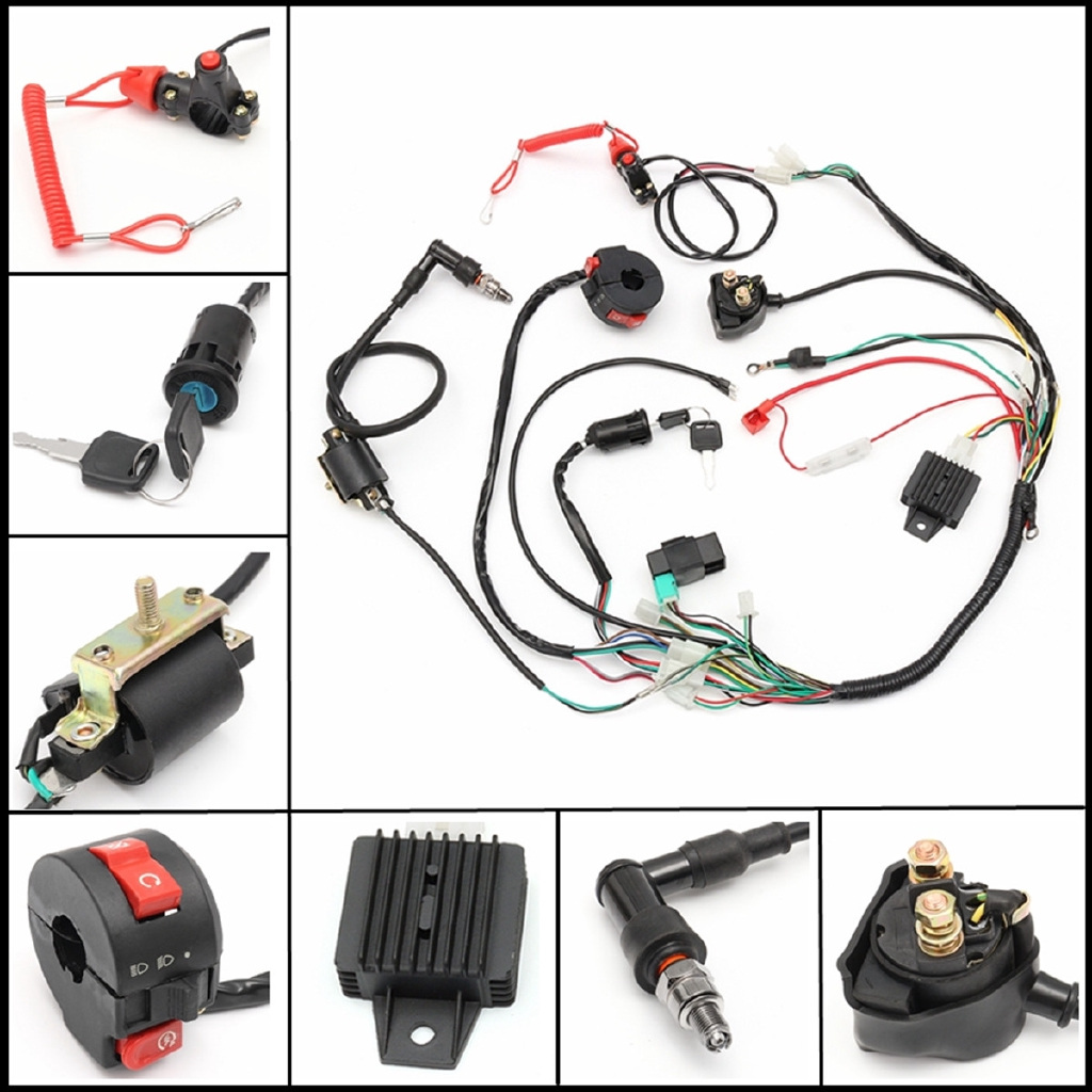 New Wiring Harness Solenoid Coil Rectifier Cdi Switch 50 70 90 110 Loom Pit Bike 50cc 110cc 120cc 125cc Universal Part Quad Shopee Malaysia