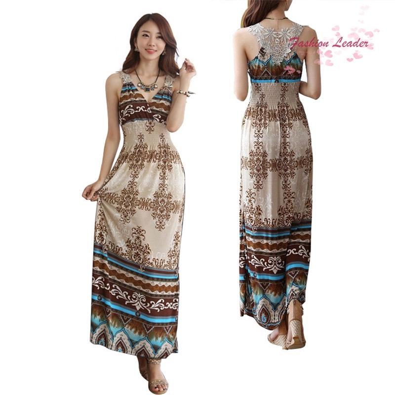 eae6b50ebbefe Women Sexy Dress Summer Floral V-Neck Beach Bohemian Maxi Dress Long Dress