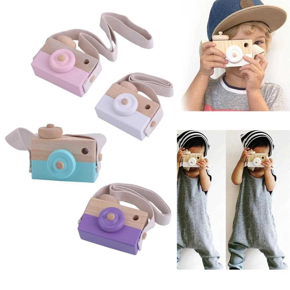 Great Discount Cute Wooden Toy Camera Kids Girls Boys Creative Neck Camera Photo Props (Green)