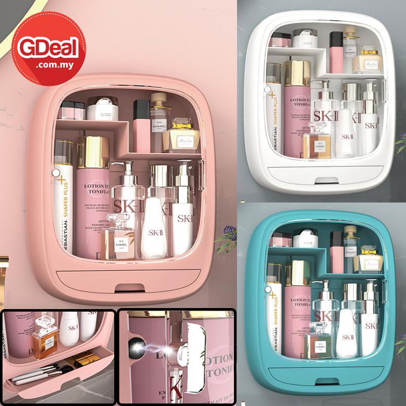 GDeal Simple Wall Mounted Cosmetic Storage Box Portable Makeup Skincare Organizer Kotak Alat Solek