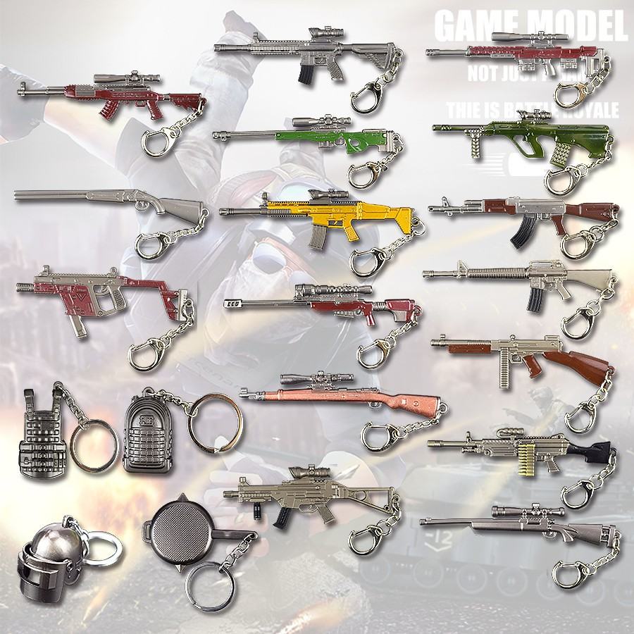 Costume Props Objective Game Pubg Signal Gun Keychain Playerunknowns Battlegrounds Weapons Alloy Cosplay Props Alloy Armor Model Key