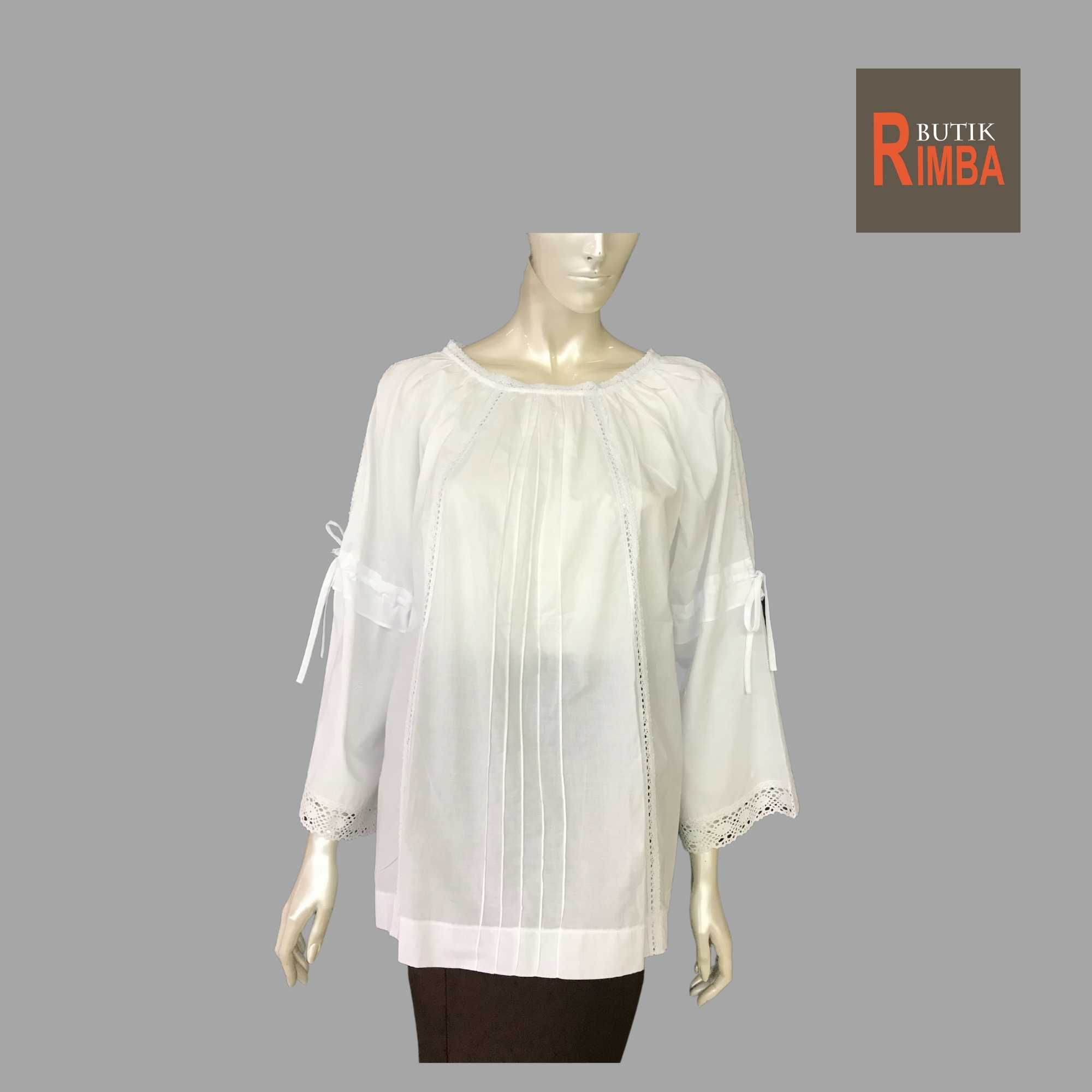 WOMEN CASUAL AND COMFORTABLE WHITE BLOUSE COTTON FREE SIZE PATTERN 02