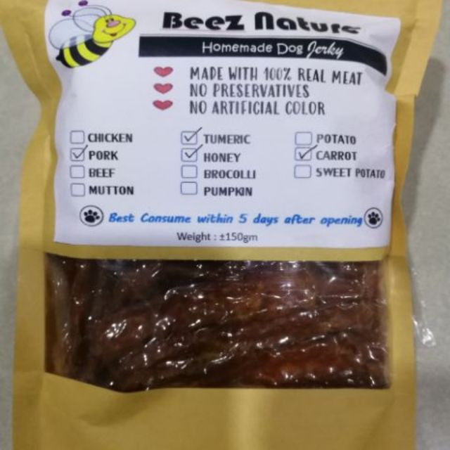 Homemade Dehydrated Pork with Vegetable & Turmeric (Honey optional) jerky for furkids (150g)