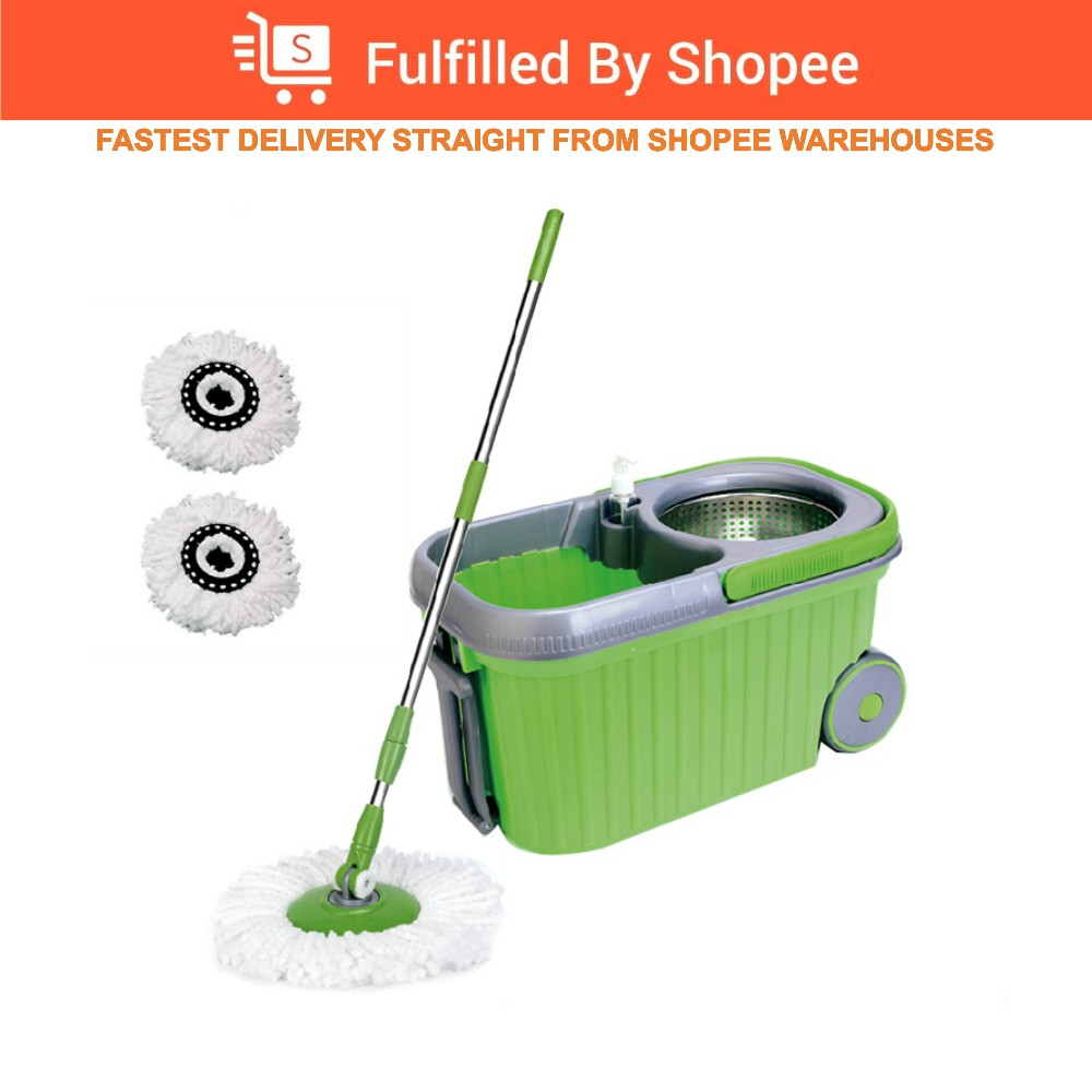 Spin Microfiber Mop with Stainless Steel Basket & Wheels+2 Mop Heads