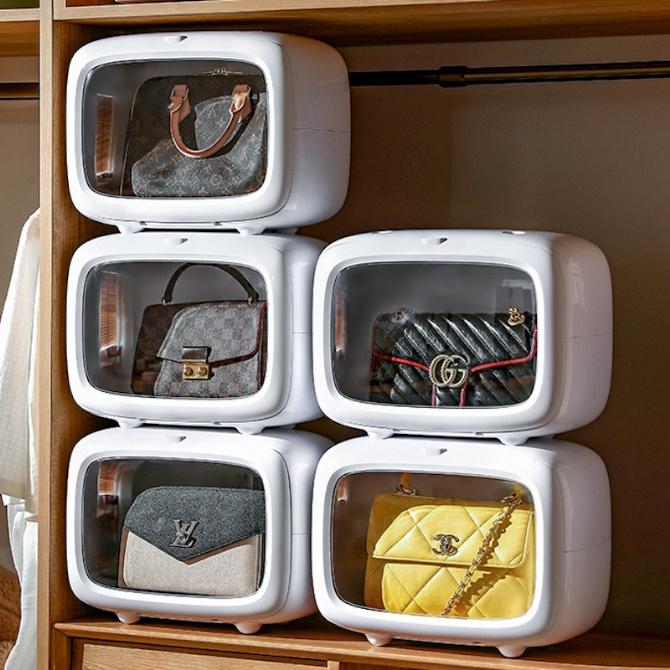 Wallet Bag Handbag Display Case Handbag Storage Box Wardrobe Organiser Box Closet Display Cabinet Dust Proof Stackable T