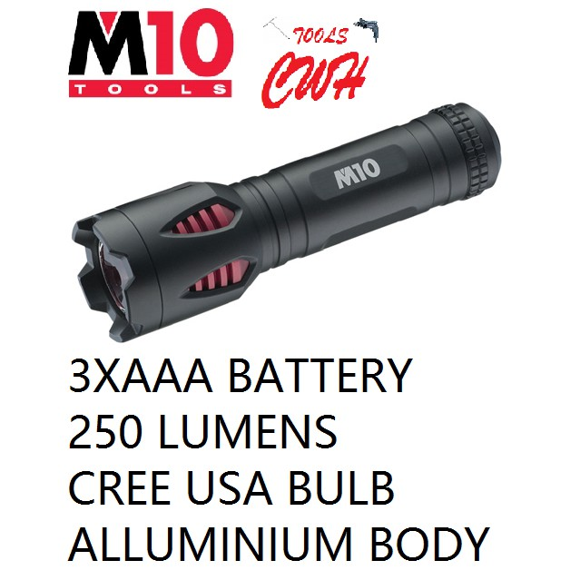 LE-293 3XAAA BATTERY 250 LUMENS M10 ALUMINIUM BODY 3W HIGH POWER LED FLASHLIGHT TORCHLIGHT LIGHT CWH TOOLS BLACKHOME