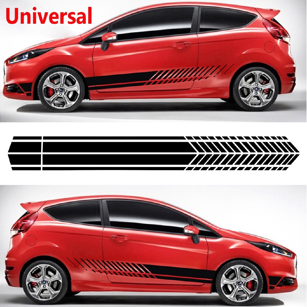 1 Pair Car Truck Body Side Door Long Stripe Stickers Graphic Vinyl Decal Black