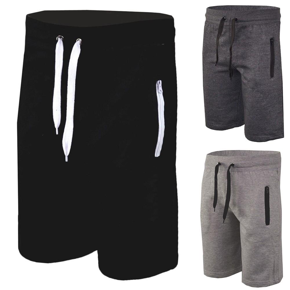 Zip Pockets Fleece Mens Plain Joggers Sweat Summer Shorts Gym Jogging Bottoms