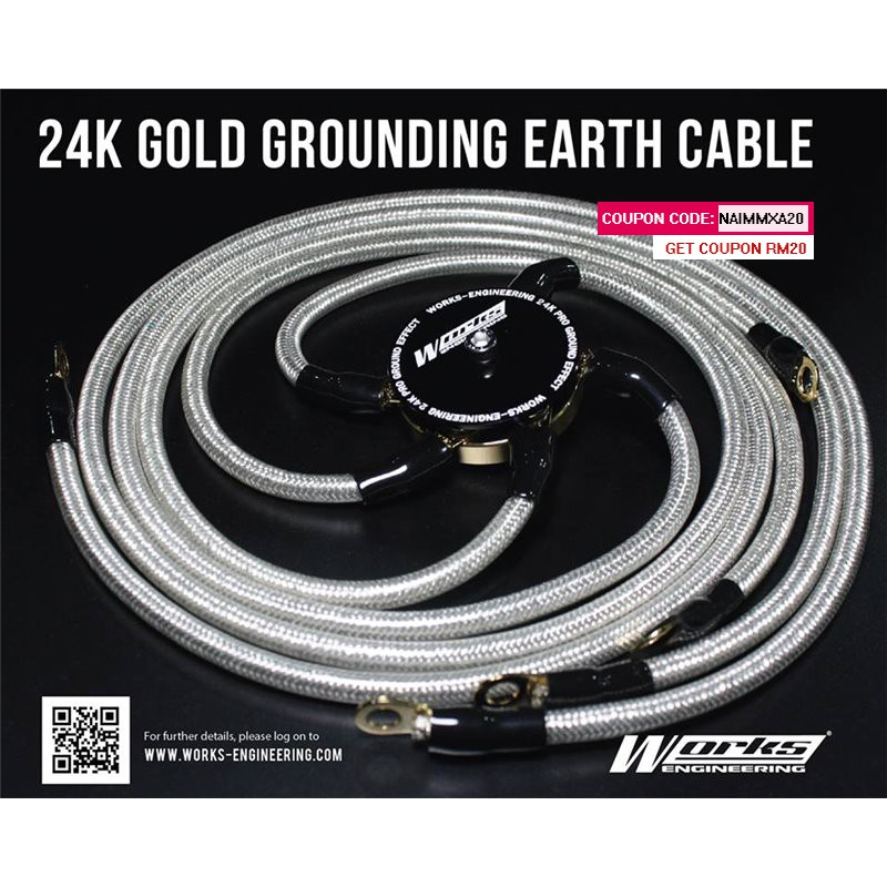 WORKS ENGINEERING 5-Point 24K Real Gold Plated G.Earth Cable Fuel Saver [W-GEC]