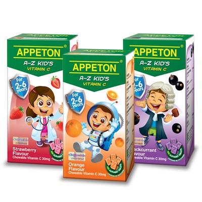 Appeton A-Z Kid's Vitamin C 30mg orange / strawberry / blackcurrant 100's