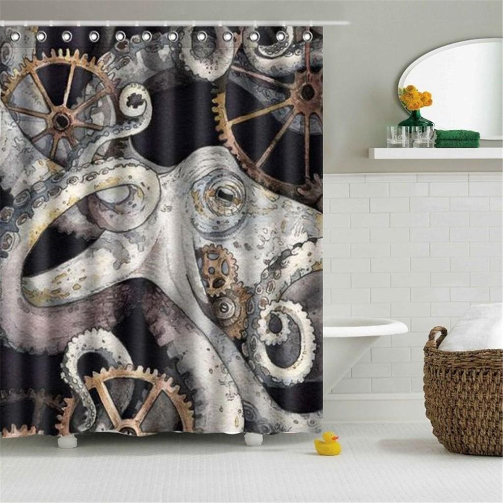 Waterproof Fabric Octopus Bathroom Shower Curtain Panel Sheer Decor Hooks Set