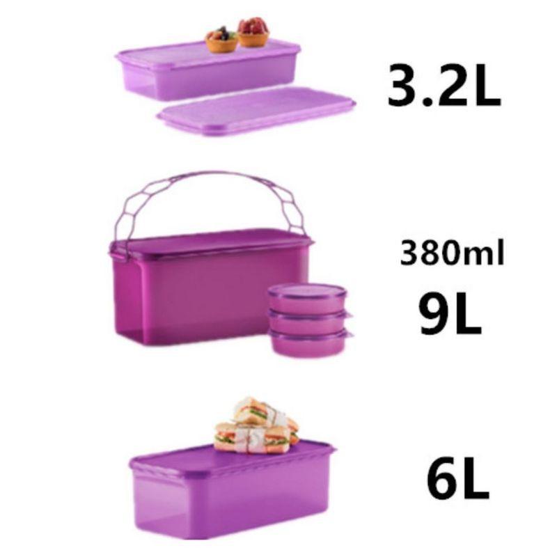 Tupperware Shallow Carry All 3.2L (1)Deep Carry All 9L (1), 380ml (3)Cool Casper 6L (1)