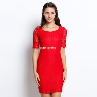 cab618e72dbf grasstore Finejo Sexy Fashion Women Evening Lace Crochet Bodycon Party Slim  Dresses Pencil Dress
