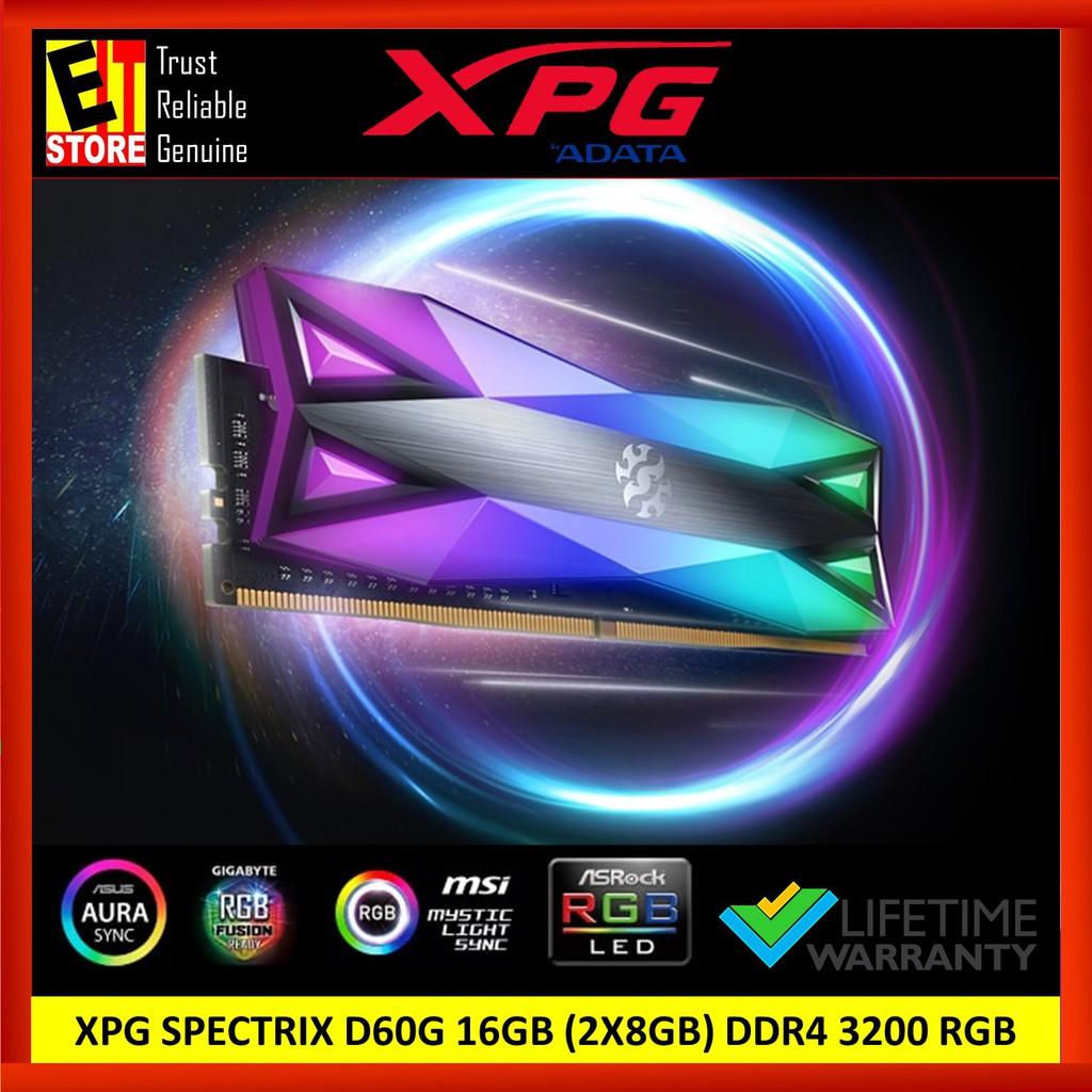 ADATA XPG SPECTRIX D60G 16GB (2X8GB) DDR4 3200 RGB MEMORY MODULE