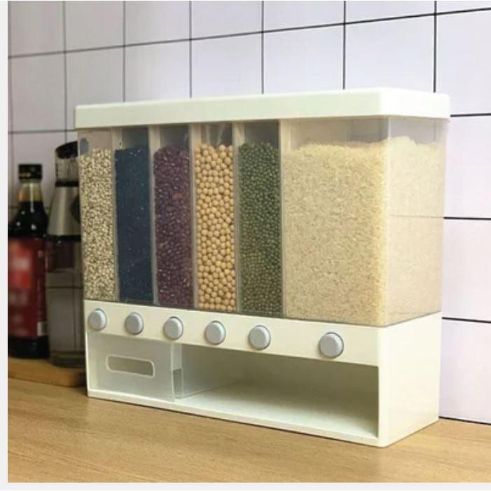 [Kingsman] 10kg Multipurpose Grain Dispenser 6 Different Compartment Rice Dispenser