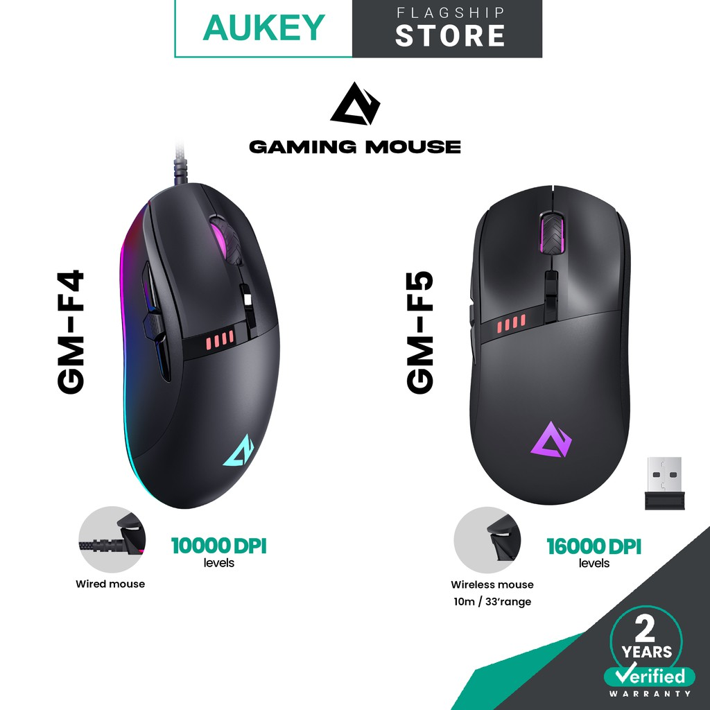 Aukey GM-F4 GM-F5 Knight RGB Gaming Mouse with 8 Programmable Buttons, Macros, Fire Button Gaming Mouse