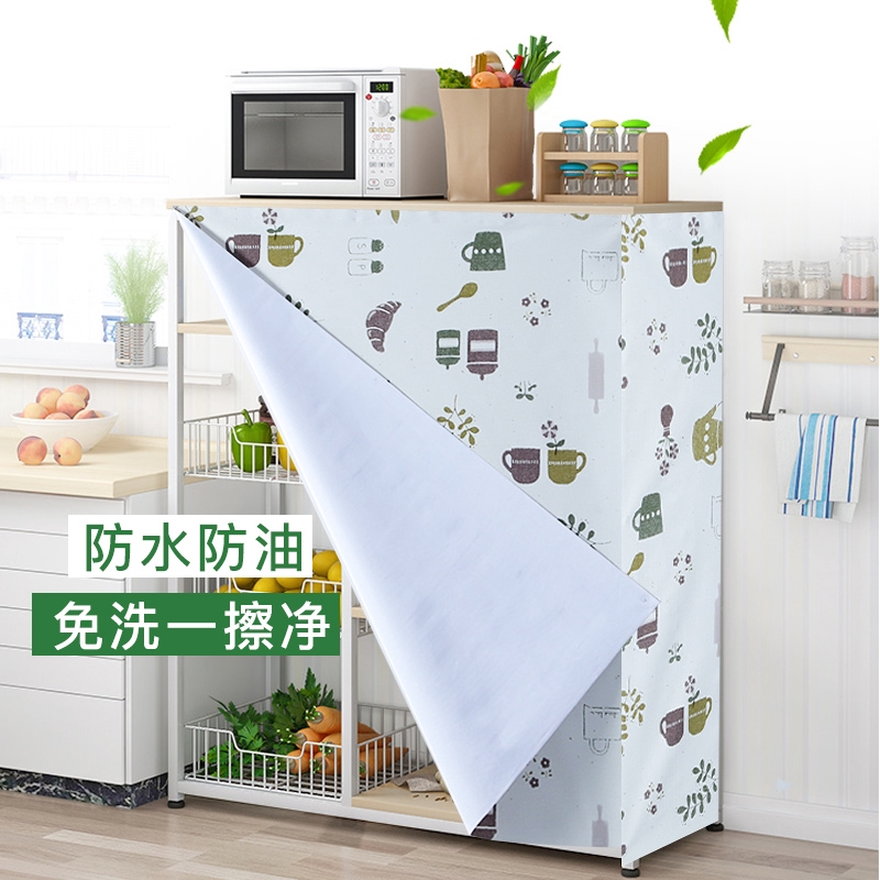 Waterproof Curtains For Kitchen Cabinets Vegetable Cutting Tables Kitchen Cupboard Racks Oil Proof Cover Towels Side Shopee Malaysia