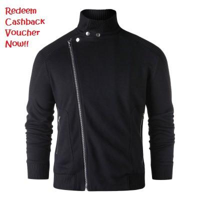 Stand Collar Asymmetric Zipper Jacket