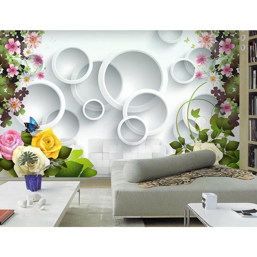 Rose Flower Circle 3d Wallpaper Living Room Sofa Tv Wall Bedroom