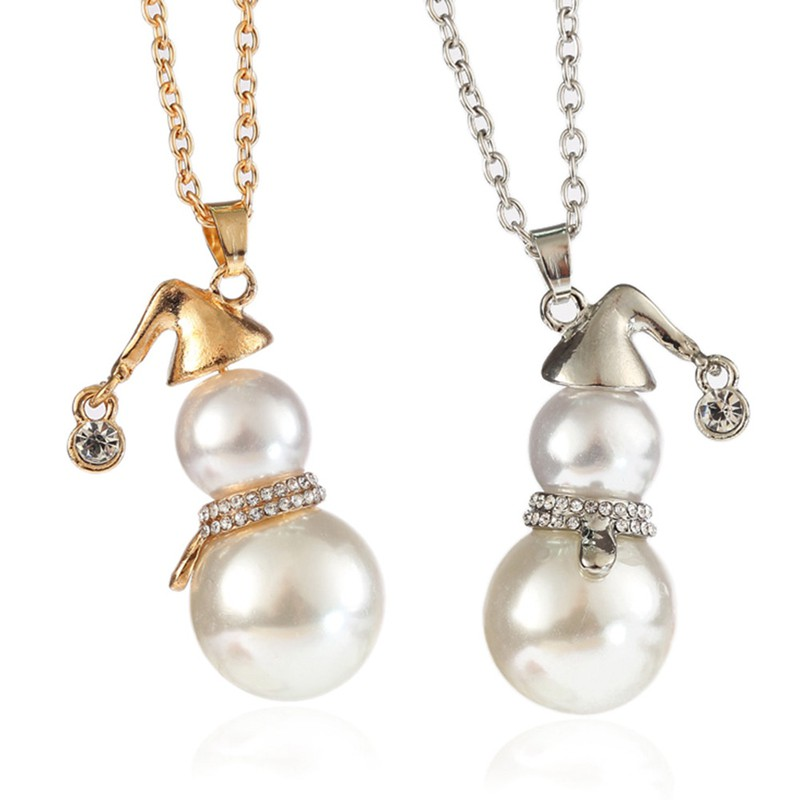 c648a0f7017af Hot Stylish Cute Christmas Pearl Long Snowman Necklace Pendant Chokers