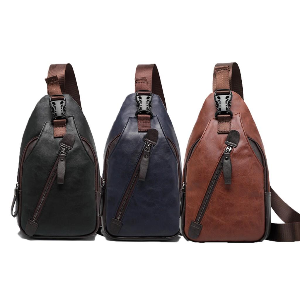 (READY STOCK)Sling Leather Bag Fashion Men Chest Bag Crossbody Shoulder Beg Sling Bag