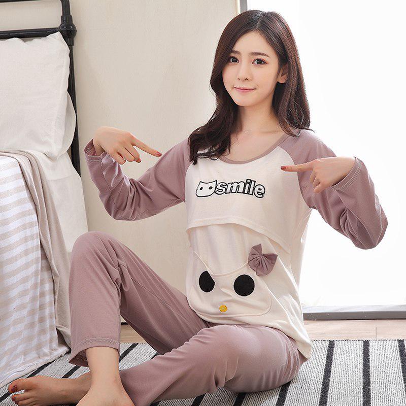 e1b861c30 Maternity Pajamas Summer Feeding Suit Pajamas Maternity Suit Nursing  Sleepwear   Shopee Malaysia
