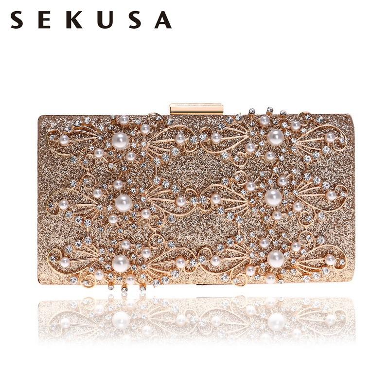 081908935dda Beaded Hollow Style Women Clutch Evening Bags Rhinestones Sequined Lady  Handbag