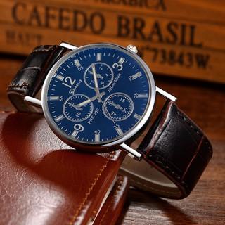 Men Watch Luxury Fashion Faux Leather Glass Quartz Analog Casual Cool Brand