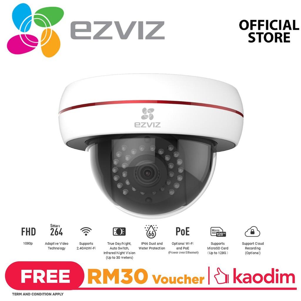 Ezviz C4S - 2MP 1080P HD Night Vision Motion Detection WiFi PoE Dome Camera