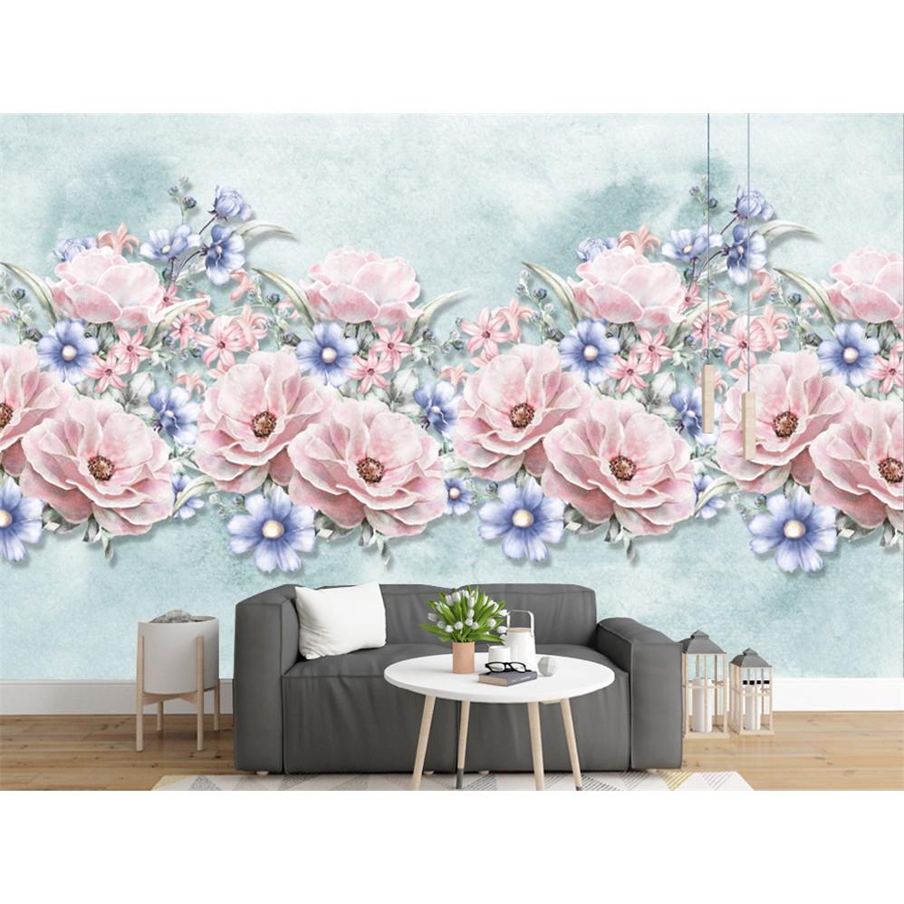 Modern 3d Custom Photo Wallpaper Mural Watercolor Flower For