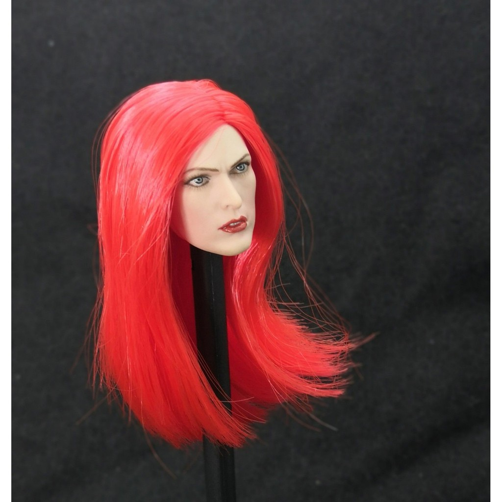 1//6 Red Hair Beauty Girl Alice Head Carving Fit 12/'/' PH Pale Skin Body Toy