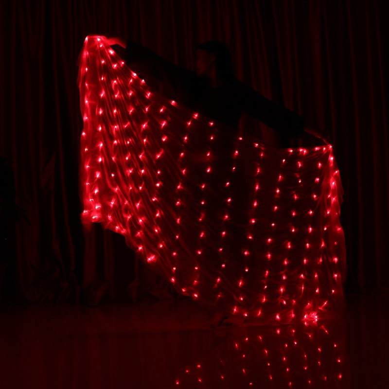 Shinning Belly Dance Cosplay LED Scarf Veil Stage Performance Gauze Kerchief