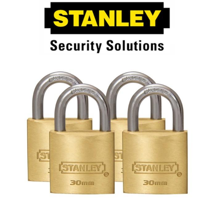 STANLEY STANDARD SHACKLE KEY ALIKE BRASS PADLOCK S827-423 30MM SECURITY LOCK