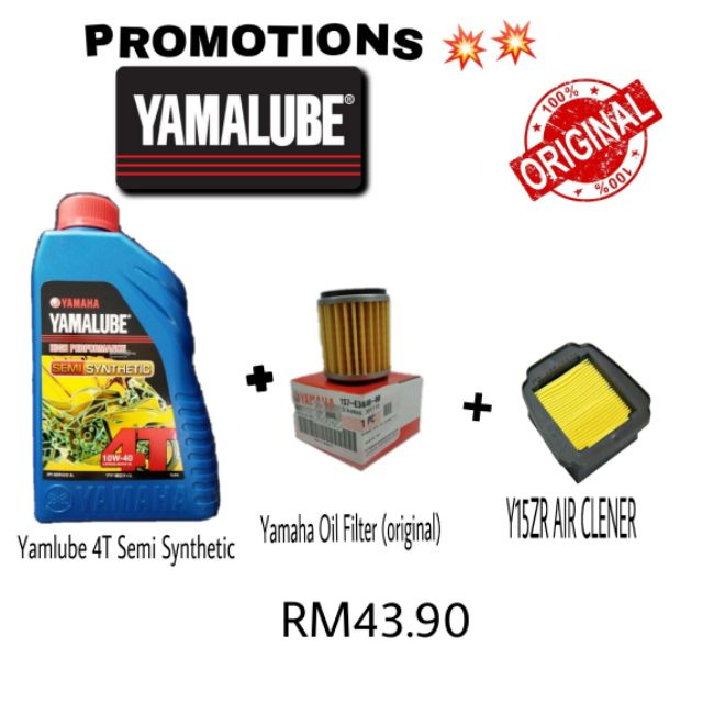 YAMALUBE 4T SEMI SYNTHETIC + YAMAHA OIL FILTER + Y15Z AIR CLENER