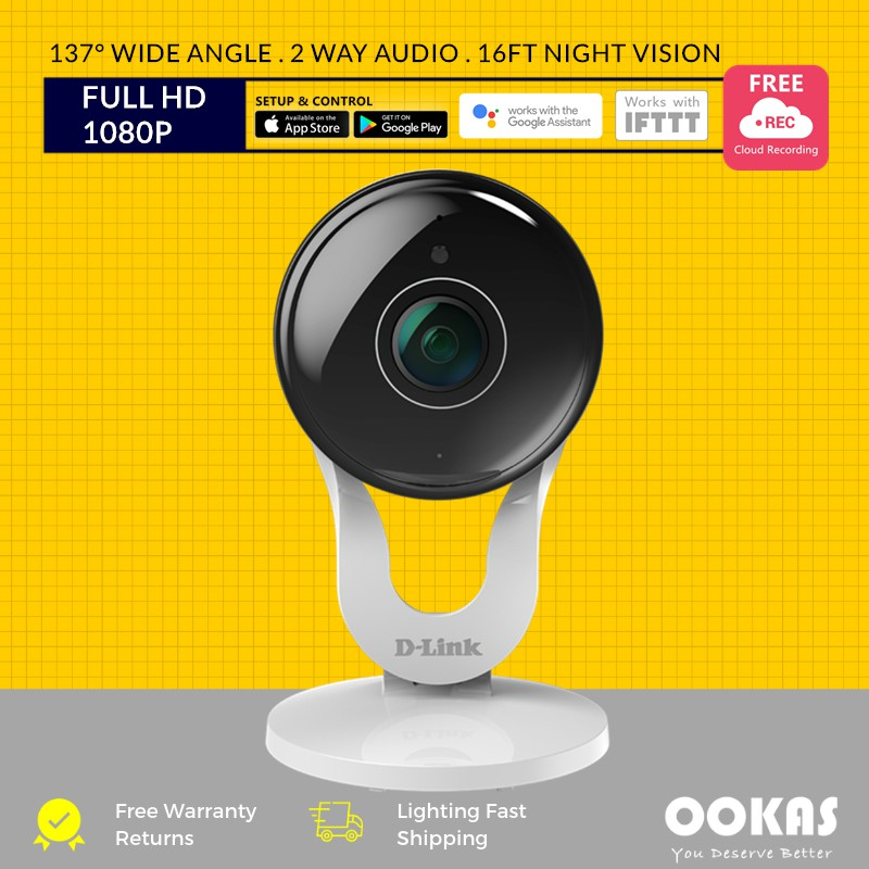 D-Link 137° 1080P FULL HD WiFi Wireless Cloud Recording IP Camera DCS-8300LH