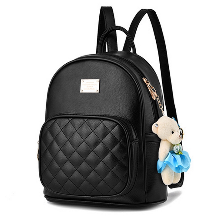 ba7c7c96b70f Elegant Quilted Faux Leather Casual Backpack with Cute Bear Adorn ...