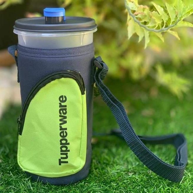 READY STOCK Tupperware High Handolier Stylish Zip Pocket Green Pouch 1x1.5L (Water Bottle/ tumbler)