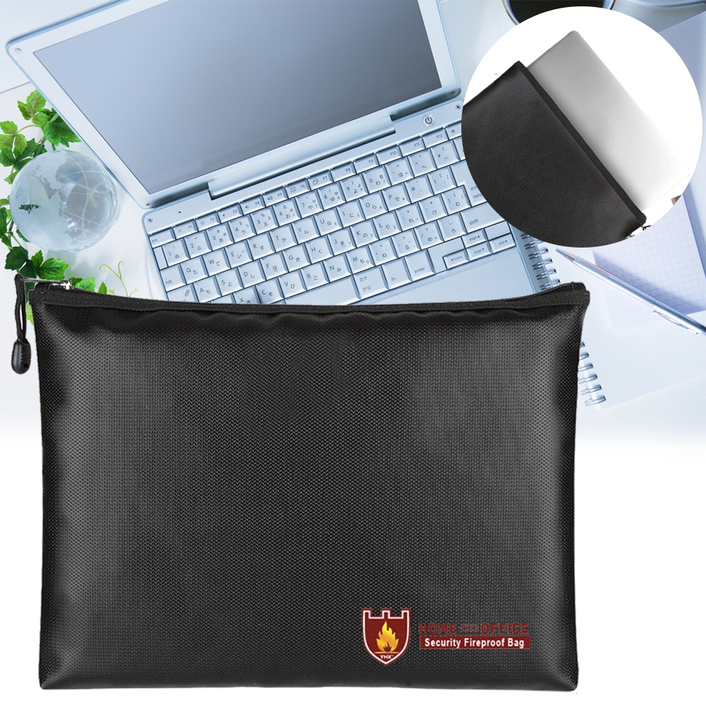 Waterproof Envelope Bag Pouch Briefcase Fire-resistant Passport Money Laptop Keeping Safe Storage Bag with Zipper for Valuables 29 x 20cm Fireproof Document Bag