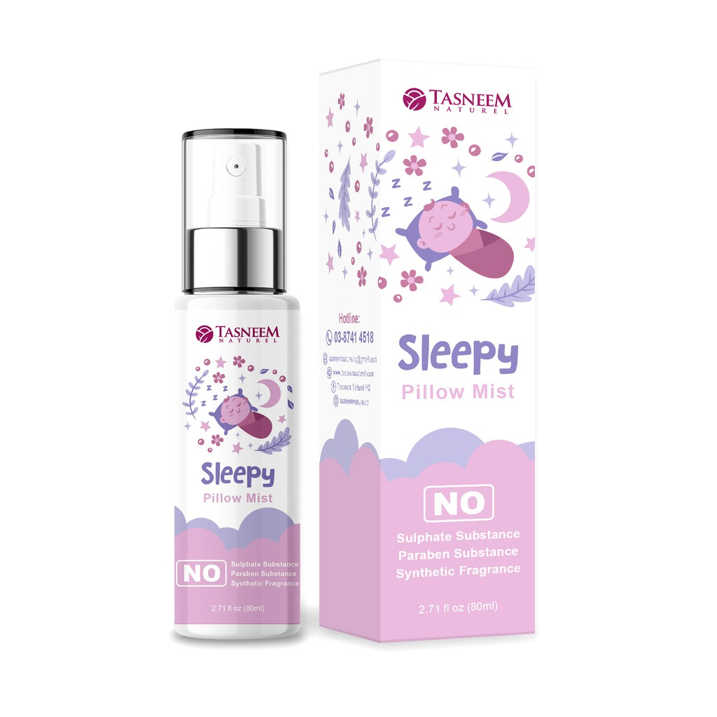 Spray Mudah Tidur Sleepy Pillow Mist Membantu untuk Tidur yang Lena, Mudah Tidur by TASNEEM NATUREL (80ML) + FREE GIFT