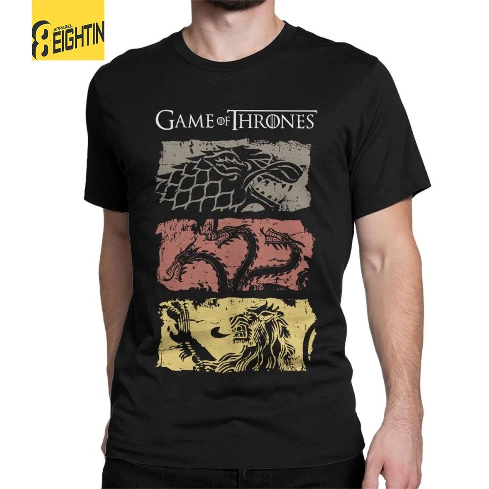 c1d2a2c1e6 Game Of Thrones Vintage Men T Shirt TV Series House Stark Targaryen 100%  Cotton