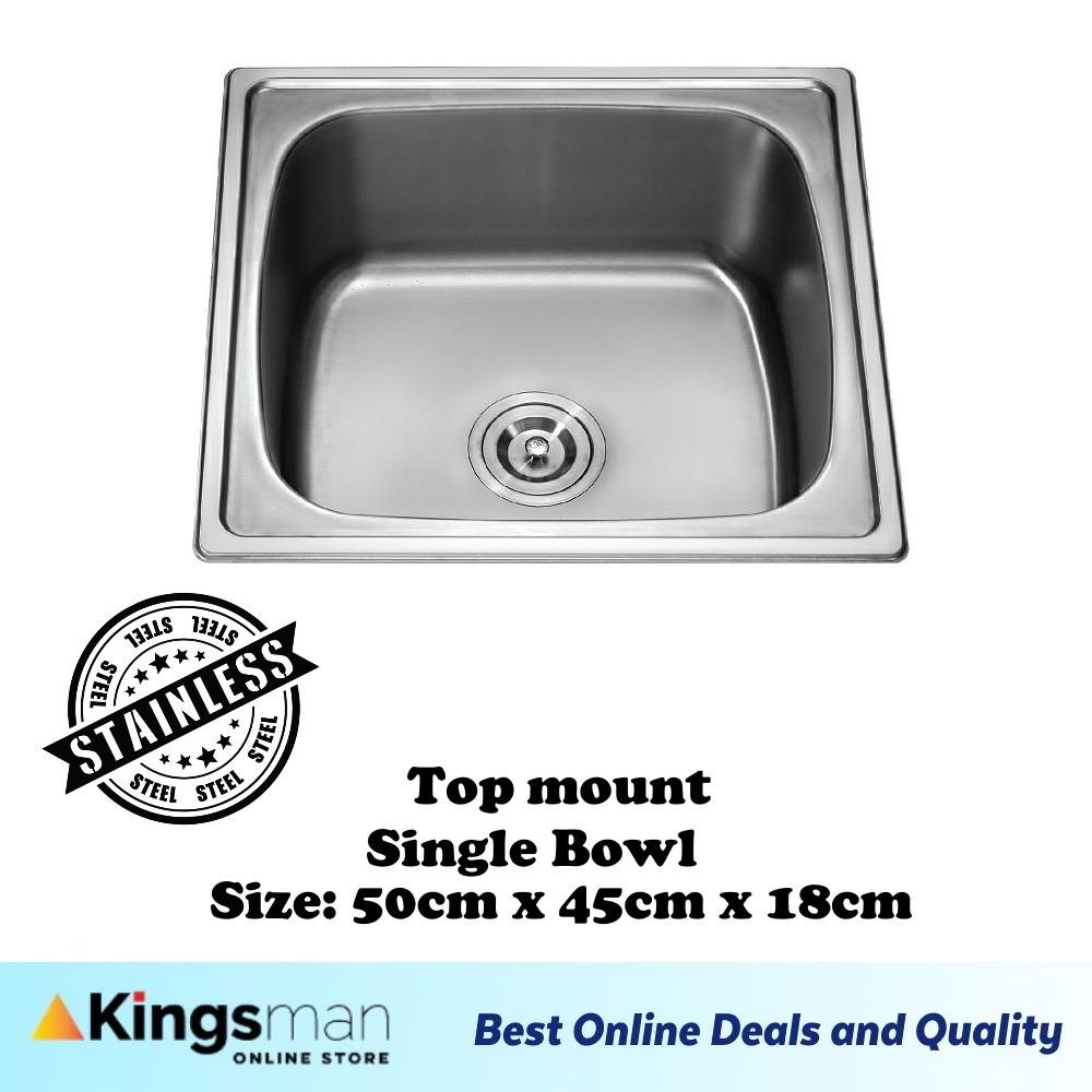 [Kingsman] Normal Classic Metallic Topmount 304 Stainless Steel Single Bowl Kitchen Sink