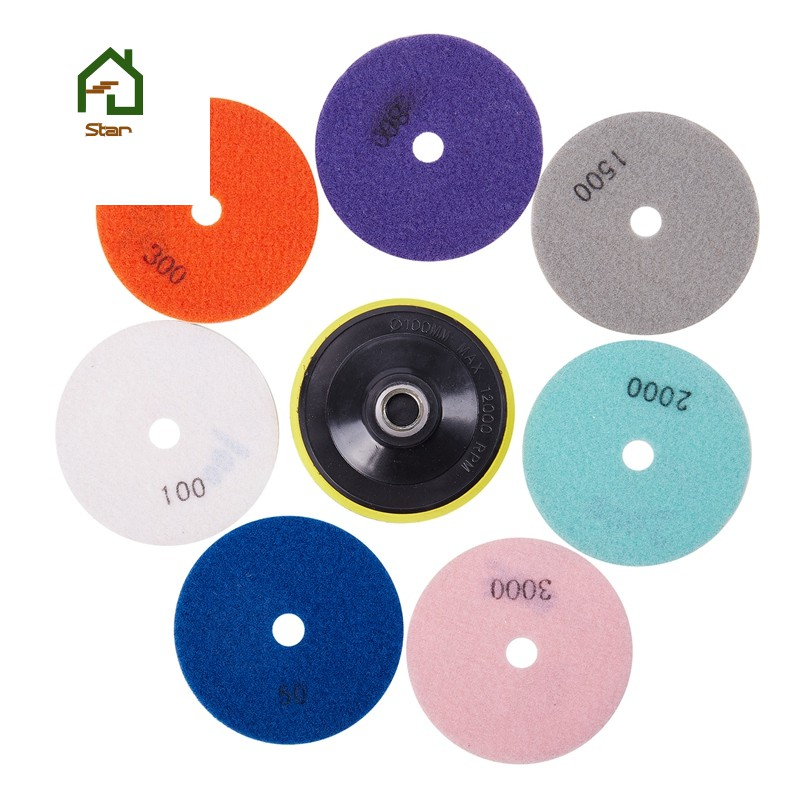 16pc Diamond Polishing Pads Wet Grinding Discs For Granite Marble Concrete Stone