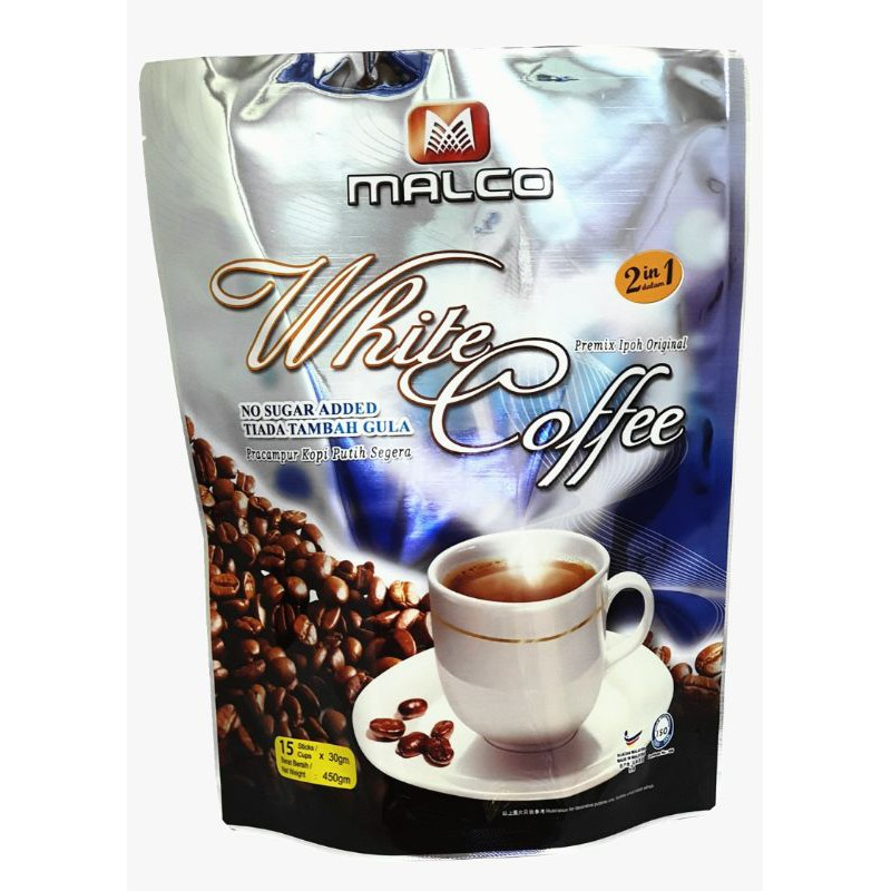 "MALCO - PREMIUM WHITE COFFEE ""2 in 1"" INSTANT MIX (30G X 15) - HALAL"