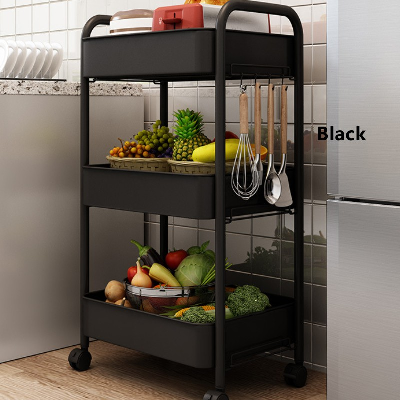 GDeal 3 Tier Multi-functional Metal Trolley Storage Rack Office Shelves Book Shelving Toys Storage with Handle