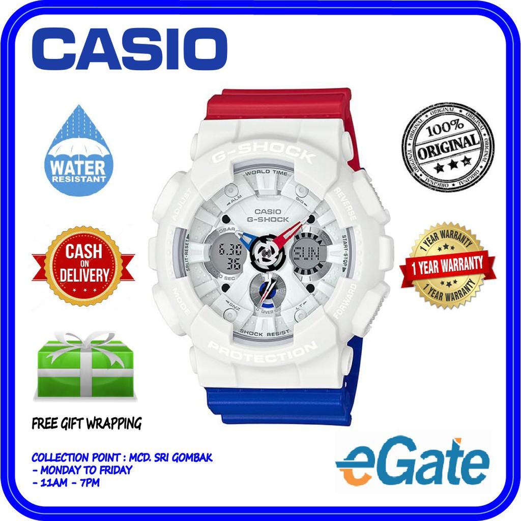 Casio G Shock Ga 120trm 7a White Mens Watch Update Daftar Harga 201tr 7adr Jam Tangan Pria Resin Men Analog Digital Sporty Tricolor Design Ori