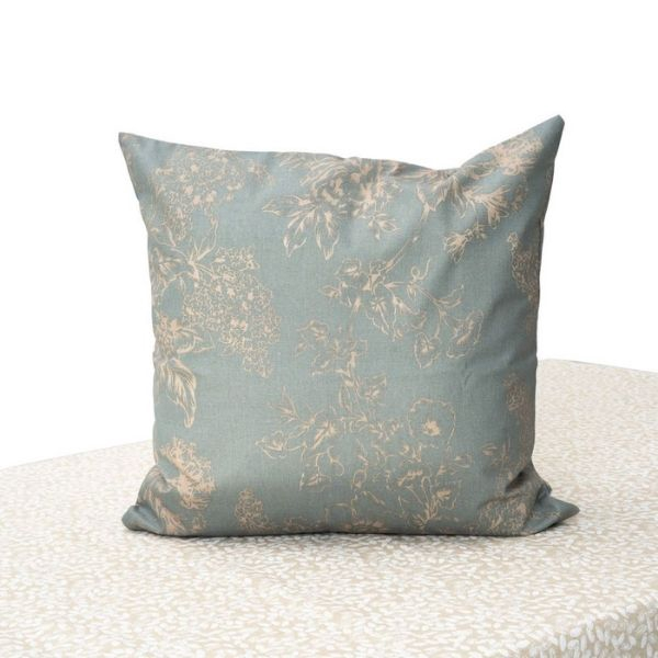 """Blossom Coated Cushion Cover. Anti Stain/Waterproof/Spill Proof Polylinen Coated With PU. 45x45cm/18x18"""".(Blue-Grey)"""